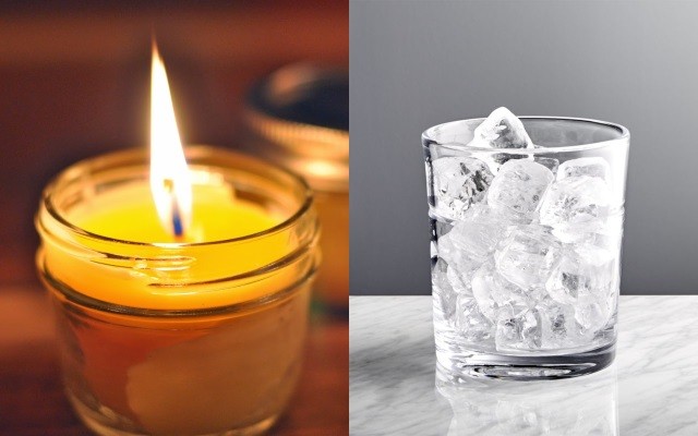 A split image of a burning candle and a glass full of ice