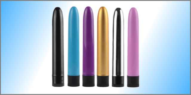 Six classic vibrators of varying colors with blue-white gradient background