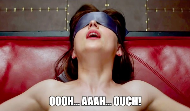 Anastasia Grey blindfolded and moaning in pleasure and pain